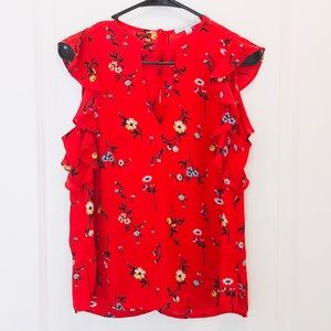 Crescent & Willough Red Floral Sleeveless Blouse S
